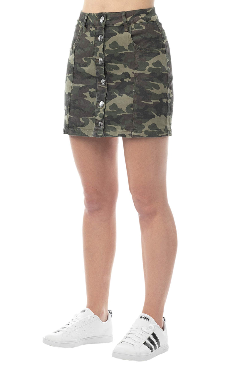 Military color side view of Women's Juniors Button Front A-line Mini Skirt - Almost Famous Clothing