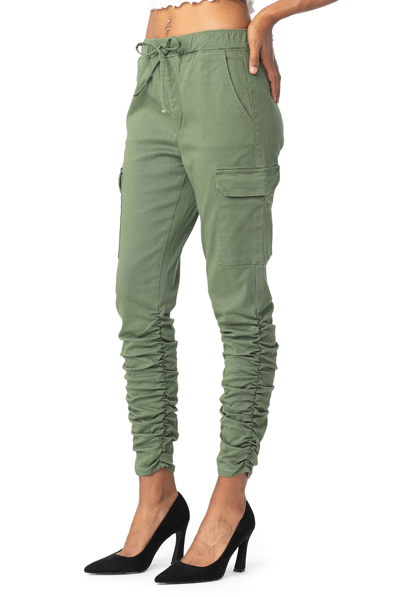 Women's Juniors High Rise Ruched Cargo Pull On Jean