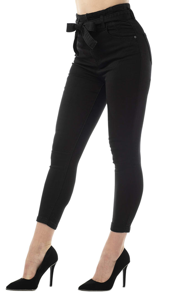 Black Color Side View Of Women's Juniors Super High Rise Belted Crop Skinny Jeans - Almost Famous Clothing