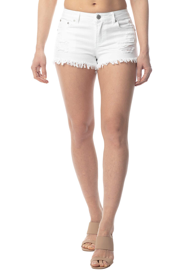 White Color Women's Juniors Mid-Rise Frayed Hem Denim Short - Almost Famous Clothing