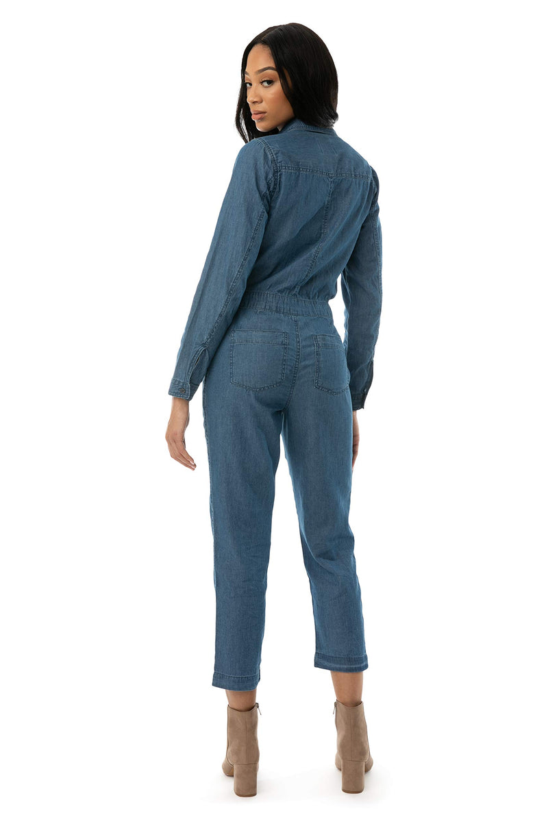 Back Side Of Women's Juniors Chambray Coverall Jumpsuit - Almost Famous Clothing