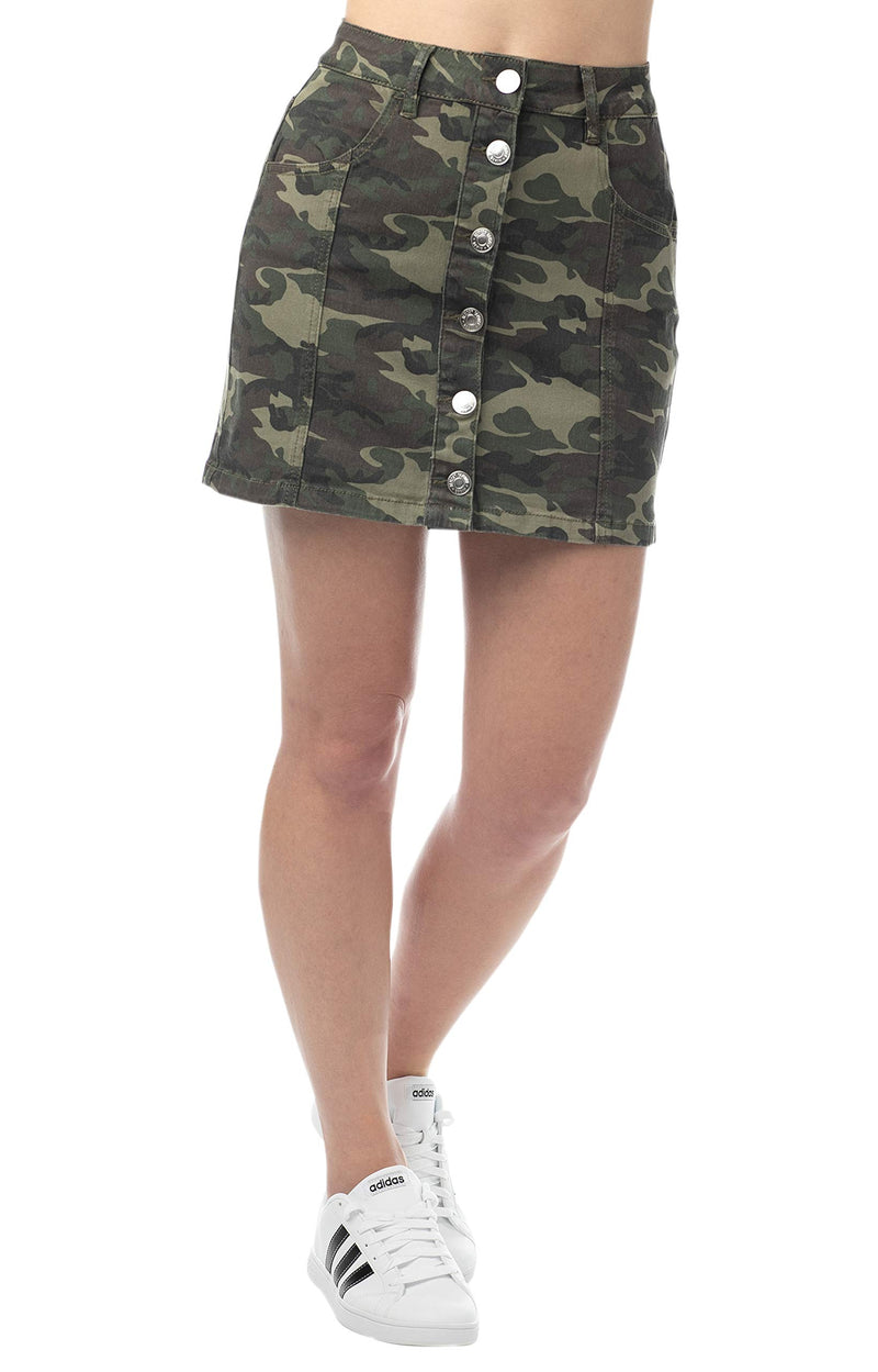 Military color Women's Juniors Button Front A-line Mini Skirt - Almost Famous Clothing