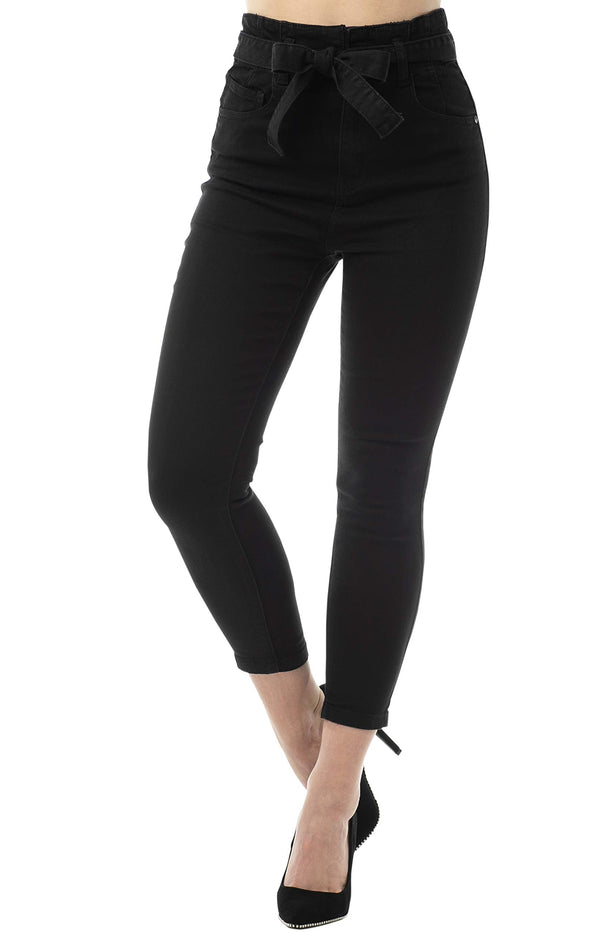 Black Color Women's Juniors Super High Rise Belted Crop Skinny Jeans - Almost Famous Clothing