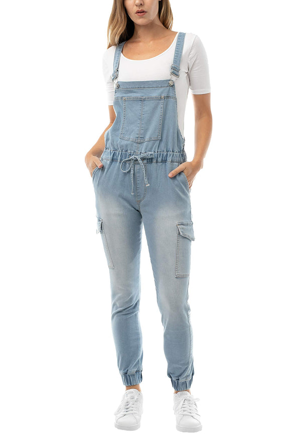 Light wash color Women's Juniors Cargo Jogger Overall with Drawstring - Almost Famous Clothing