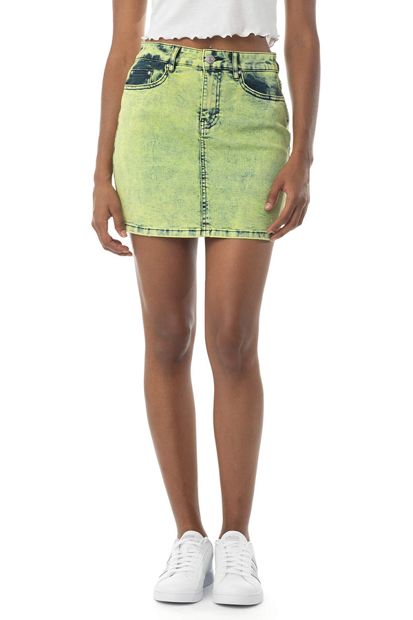 Women's Juniors Mid Rise Acid Wash Denim Skirt