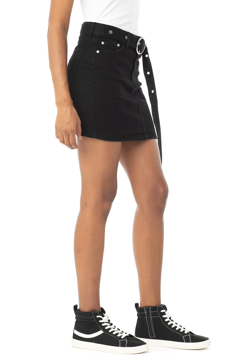 Black Color Side View Of Women's Juniors Mid Rise Denim Skirt with Grommeted Mega Belt - Almost Famous Clothing