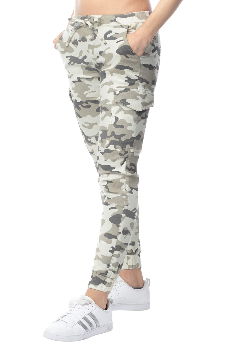 Cream Camoflauge Color Side View of Women's Juniors Cargo Pocket Jogger Drawstring Pant - Almost Famous Clothing