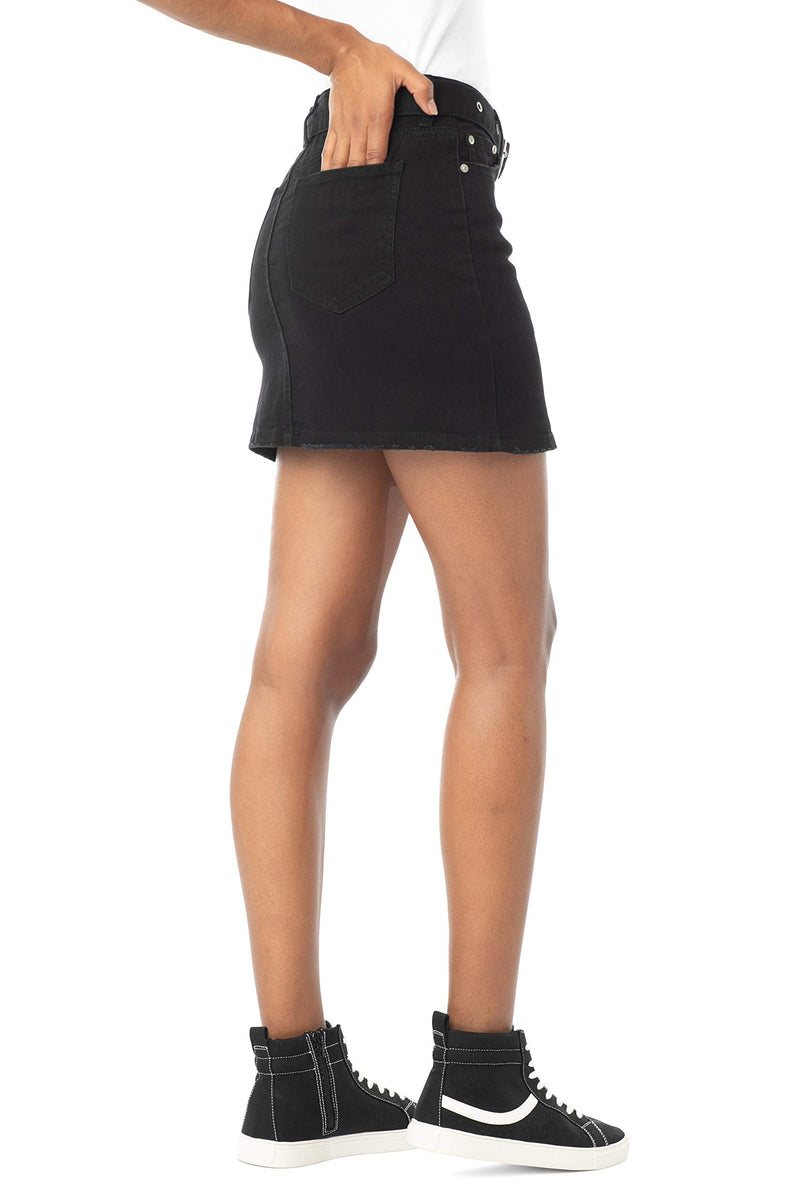 Black Side View Of Women's Juniors Mid Rise Denim Skirt with Grommeted Mega Belt - Almost Famous Clothing