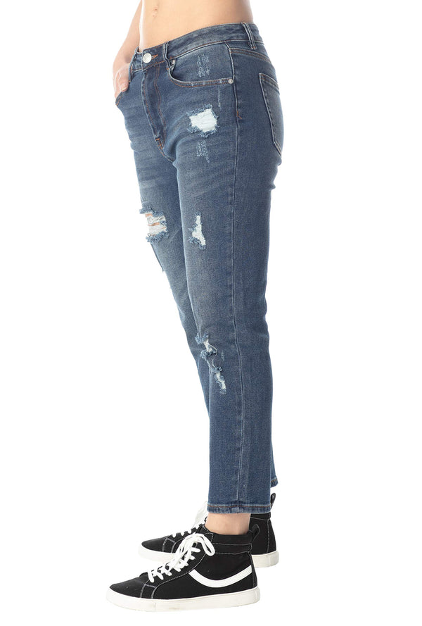 Side View Of Women's Juniors High-Rise Destructed Mom Jean - Almost Famous Clothing