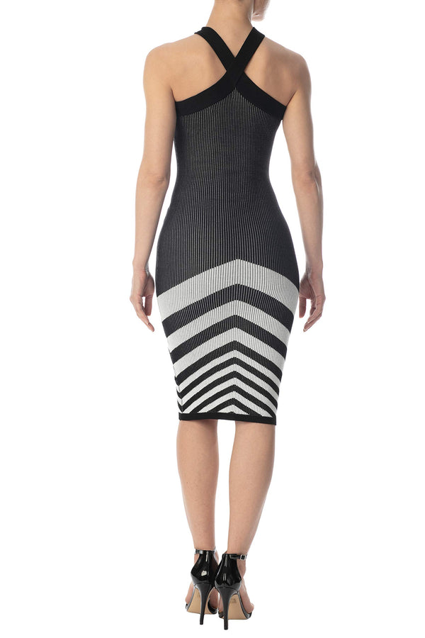 Black Color Back Side Of Women's Juniors Cross Strap Chevron Sweater Dress - Almost Famous Clothing