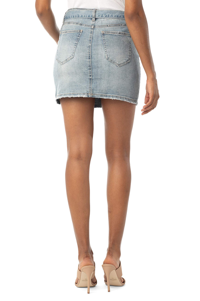 Back Side Of Women's Juniors Mid Rise Denim Skirt with Grommeted Mega Belt - Almost Famous Clothing