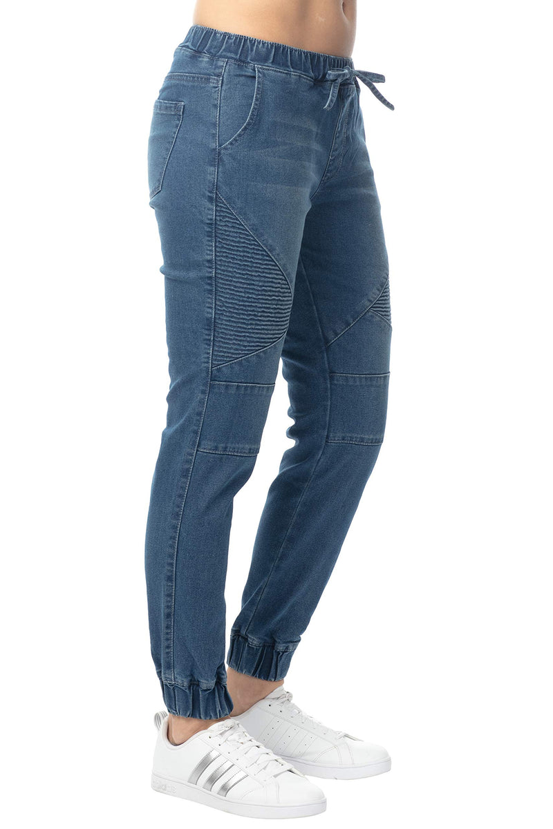 Women's Juniors Mid-Rise Distressed Moto Jogger - Almost Famous Clothing
