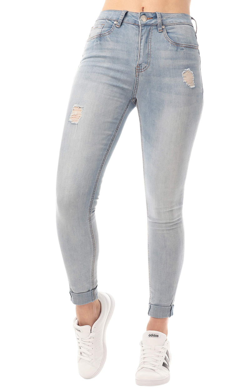 Light Wash Women's Juniors Mom Jean Double Rolled Slim Leg - Almost Famous Clothing