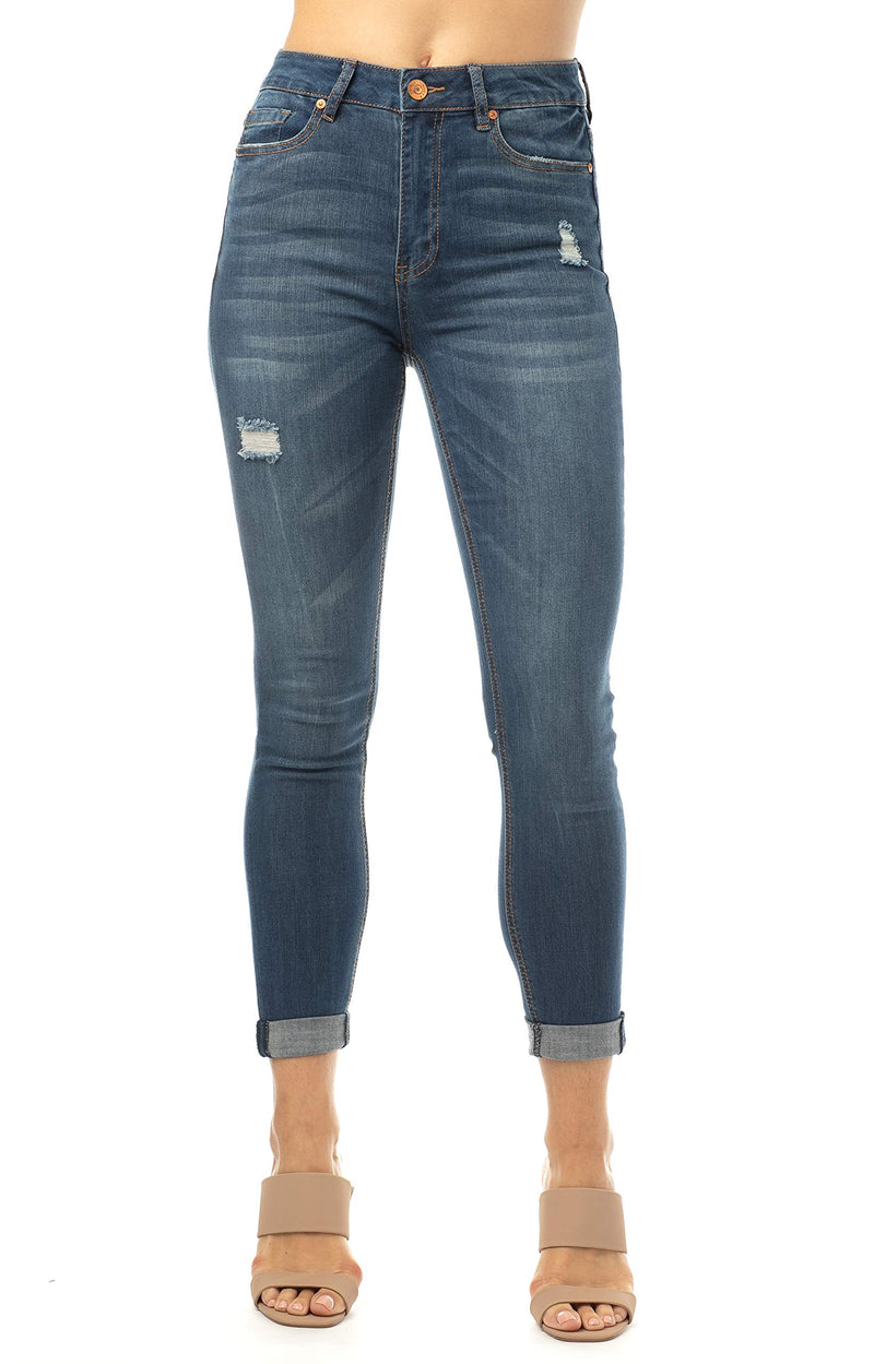 Dark Wash Women's Juniors Mom Jean Double Rolled Slim Leg - Almost Famous Clothing