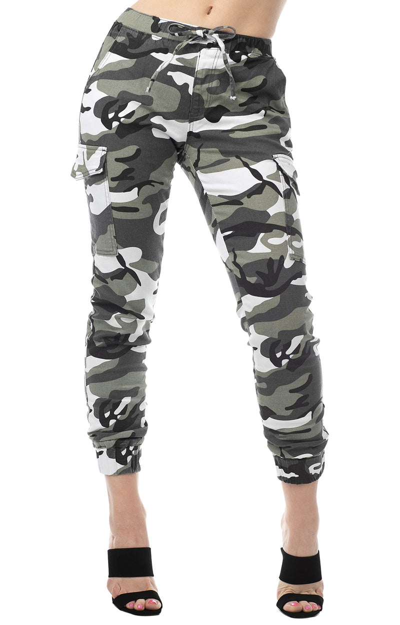 Grey Color Women's Juniors Cargo Pocket Jogger Drawstring Pant - Almost Famous Clothing