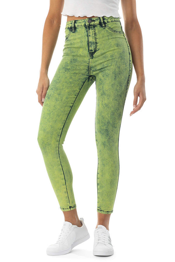 Women's Juniors Super High Rise Skinny Neon Acid Wash Jeans - Almost Famous Clothing