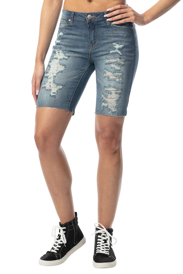 Women's Juniors Mid-Rise Destructed Bermuda Short - Almost Famous Clothing