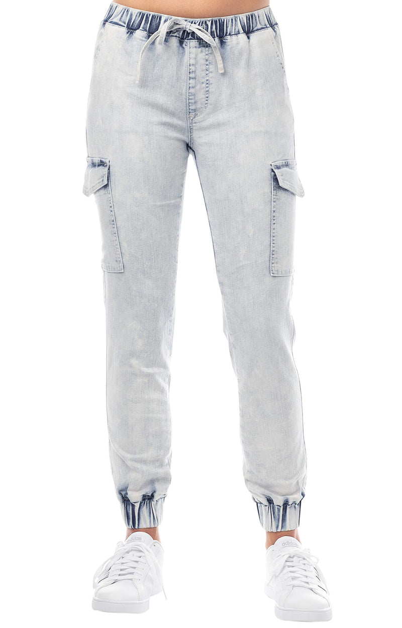Women's Juniors Cargo Mid-Rise Denim Jogger Pant with Drawstring