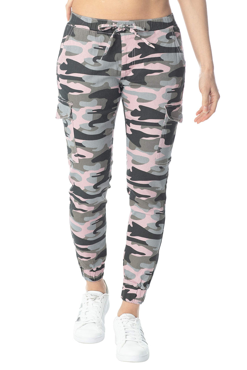 Pink Color Women's Juniors Cargo Pocket Jogger Drawstring Pant - Almost Famous Clothing