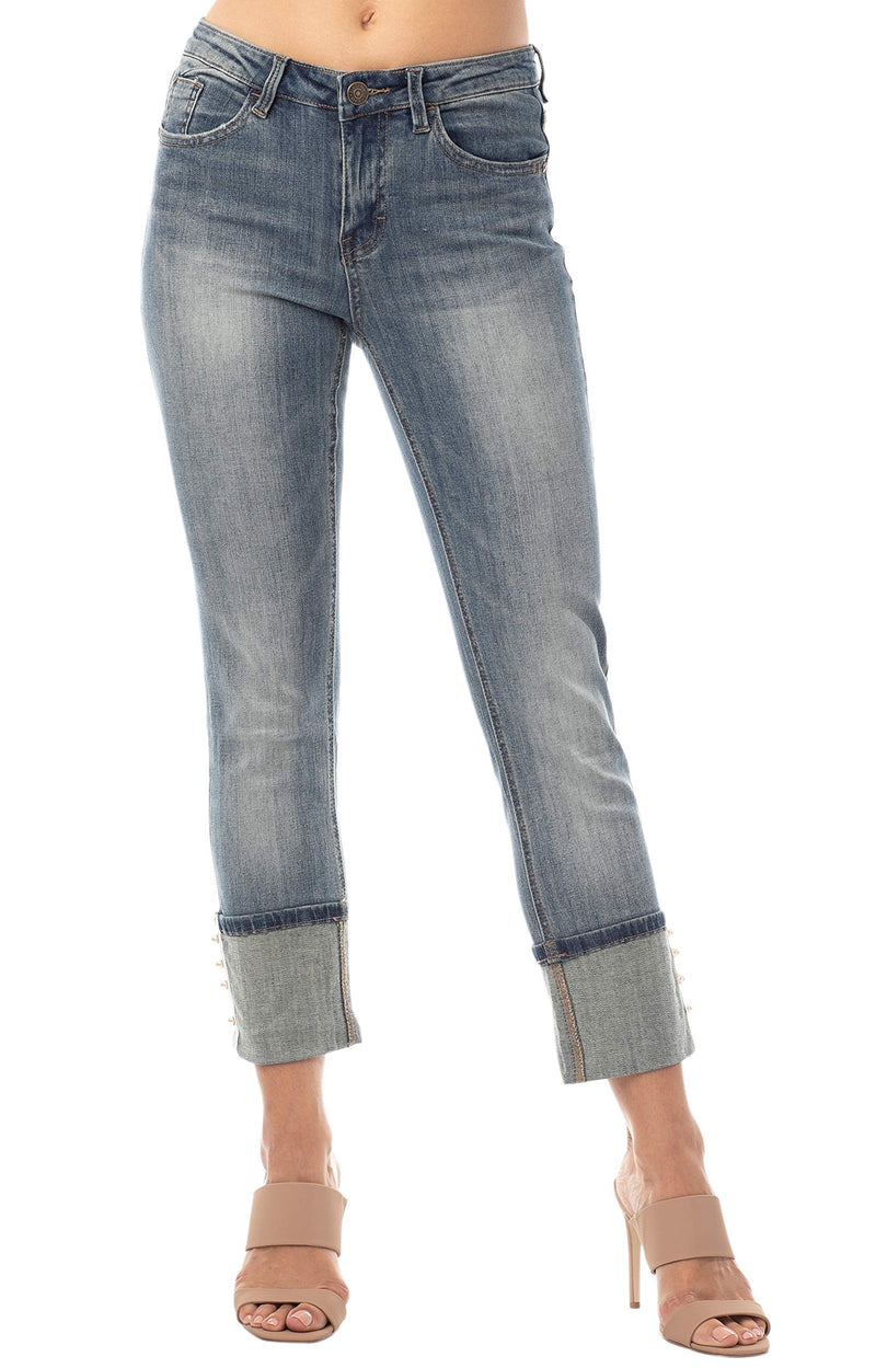 Women's Juniors Hi Cuff with Pearl Trim Mid-Rise Straight Jeans