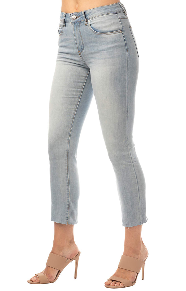 Side View Of Women's Juniors Straight Raw Cut Hem Perfectly Faded Mid-Rise Denim Jeans - Almost Famous Clothing