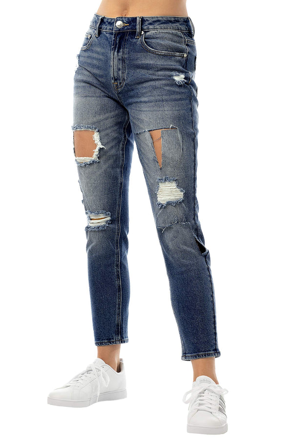 Dark Wash Side View Of Women's Juniors Ripped & Torn Denim Mom Jean - Almost Famous Clothing