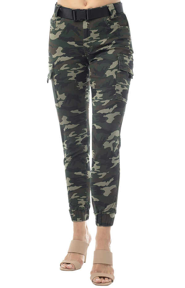 Women's Juniors Web Belted Cargo Jogger Pant