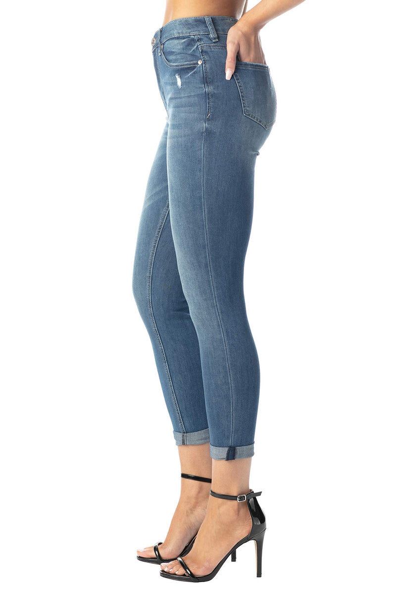 Side View Of Women's Juniors Mom Jean Double Rolled Slim Leg - Almost Famous Clothing