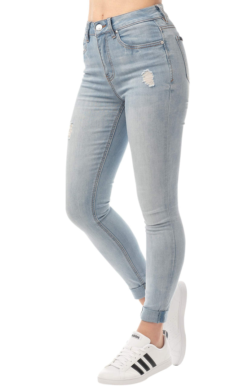 Light Wash Side View Of Women's Juniors Mom Jean Double Rolled Slim Leg - Almost Famous Clothing