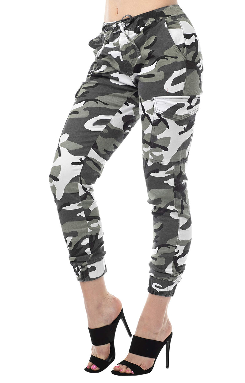 Grey Color Side View Of Women's Juniors Cargo Pocket Jogger Drawstring Pant - Almost Famous Clothing