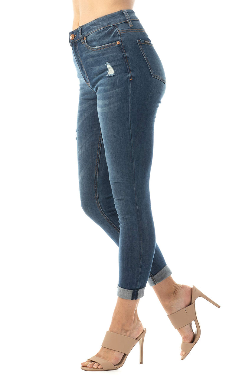 Dark Wash Side View Of Women's Juniors Mom Jean Double Rolled Slim Leg - Almost Famous Clothing