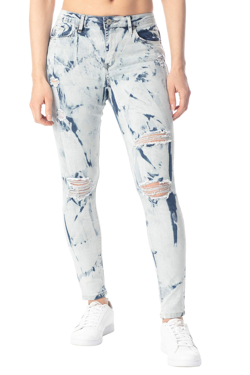 Women's Juniors Destructed High-Rise Skinny Jeans - Almost Famous Clothing