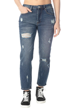 Women's Juniors High-Rise Destructed Mom Jean - Almost Famous Clothing