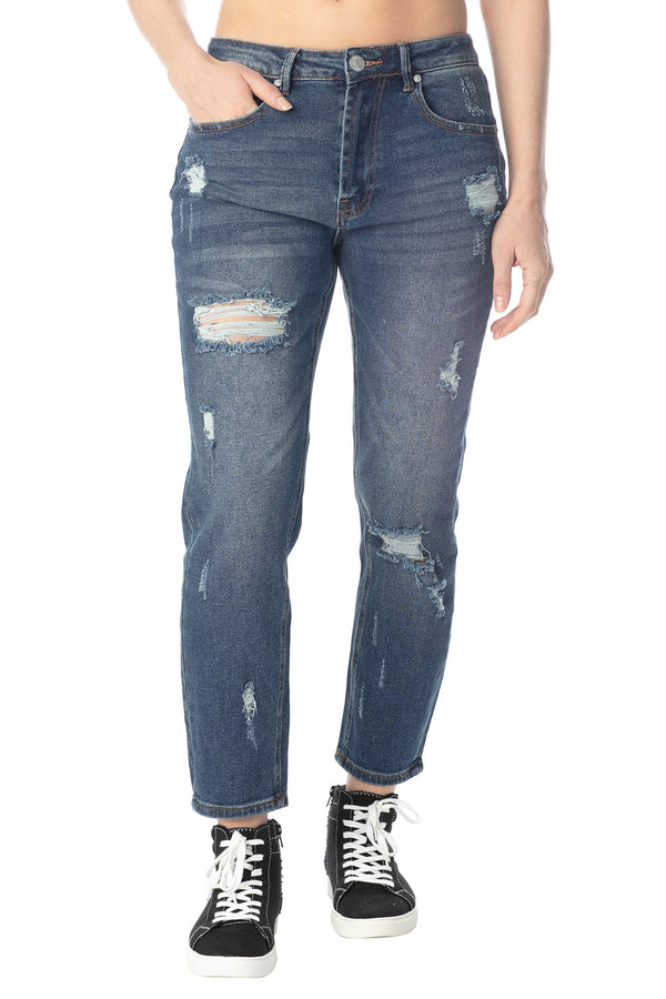 Women's Juniors High-Rise Destructed Mom Jean