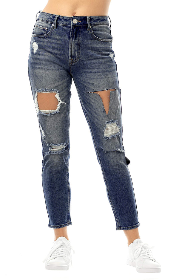 Dark Wash Women's Juniors Ripped & Torn Denim Mom Jean - Almost Famous Clothing
