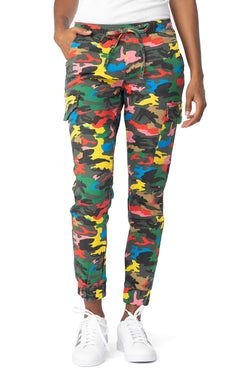 Multicolor Women's Juniors Cargo Pocket Jogger Drawstring Pant - Almost Famous Clothing