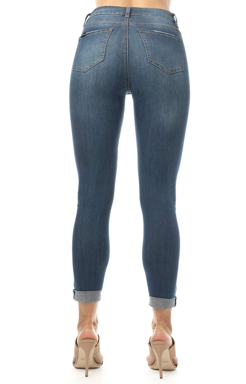 Dark Wash Back Side Of Women's Juniors Mom Jean Double Rolled Slim Leg - Almost Famous Clothing