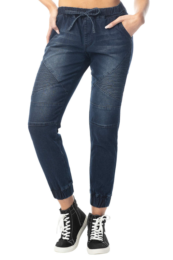 Women's Juniors Mid-Rise Distressed Moto Jogger