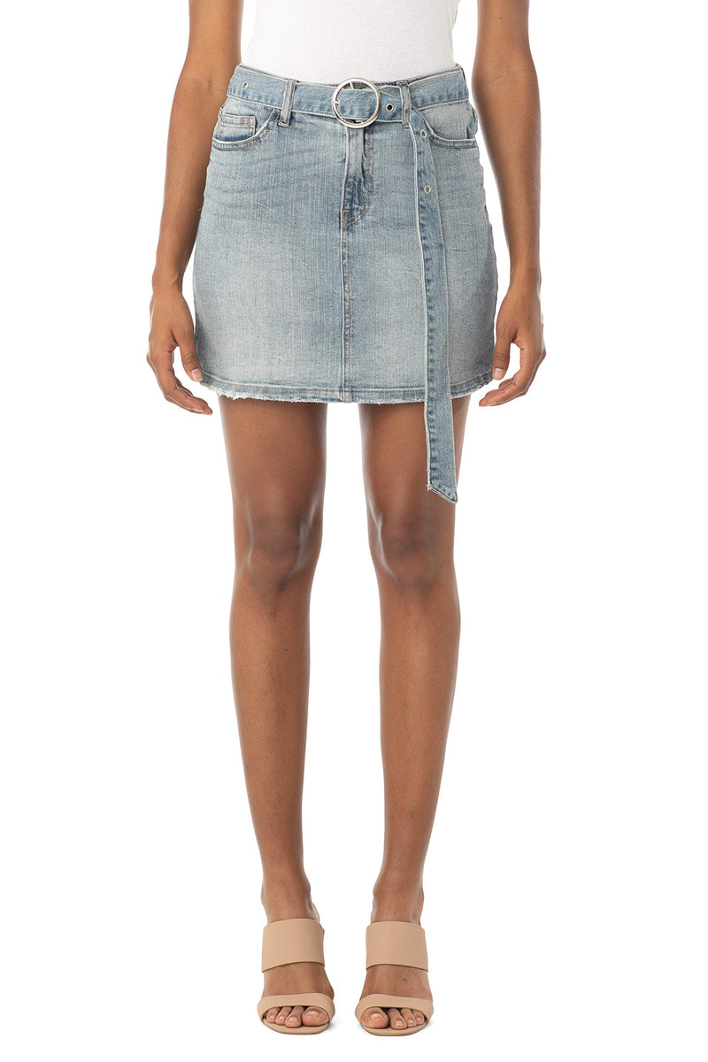Women's Juniors Mid Rise Denim Skirt with Grommeted Mega Belt - Almost Famous Clothing