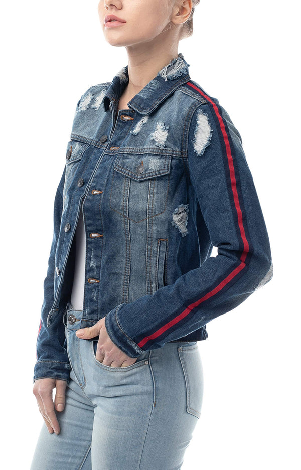 Most Wanted Striped Sleeve Women's Juniors Denim Jacket