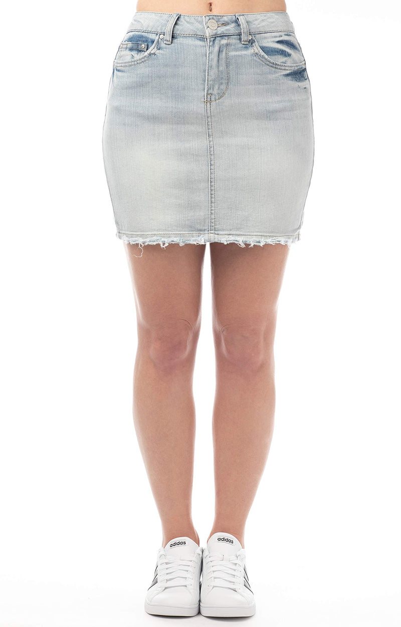 Women's Juniors Mid-Rise Vintage Denim Skirt - Almost Famous Clothing