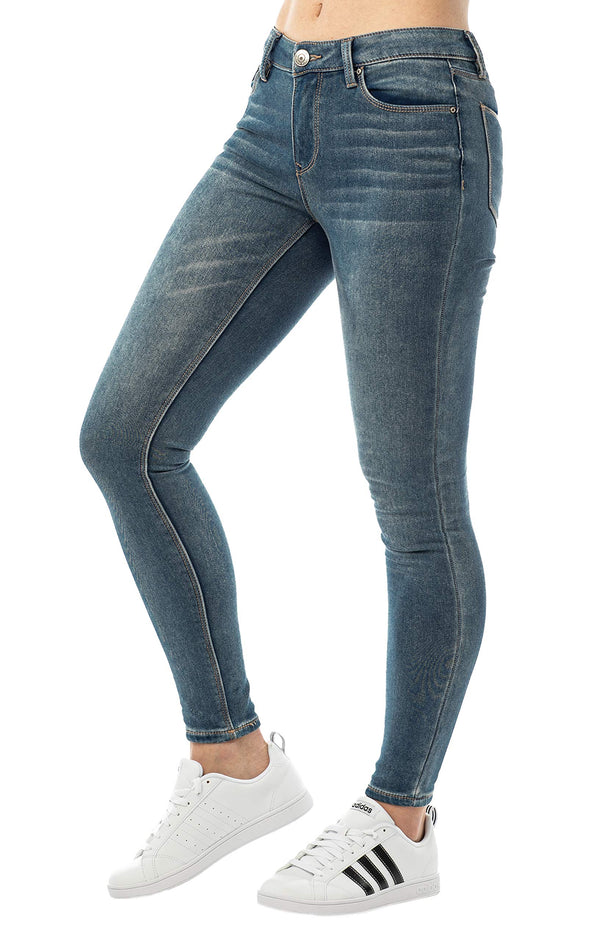 Dark Wash Side View Of Women's Mid Rise Jegging - Almost Famous Clothing