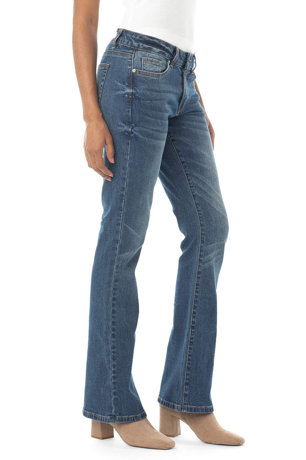Side View Of Women's Juniors Mid Rise Bootcut Jean - Almost Famous Clothing