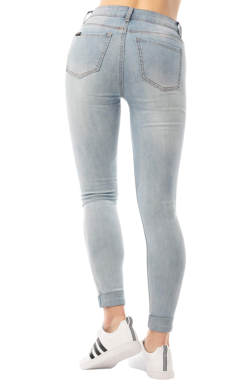 Light Wash Back Side Of Women's Juniors Mom Jean Double Rolled Slim Leg - Almost Famous Clothing