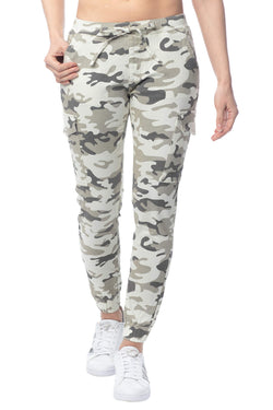 Cream Camoflauge Color Women's Juniors Cargo Pocket Jogger Drawstring Pant - Almost Famous Clothing