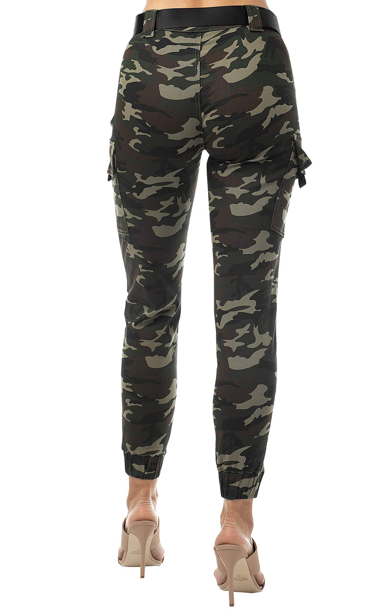 Back Side Of Women's Juniors Web Belted Cargo Jogger Pant - Almost Famous Clothing