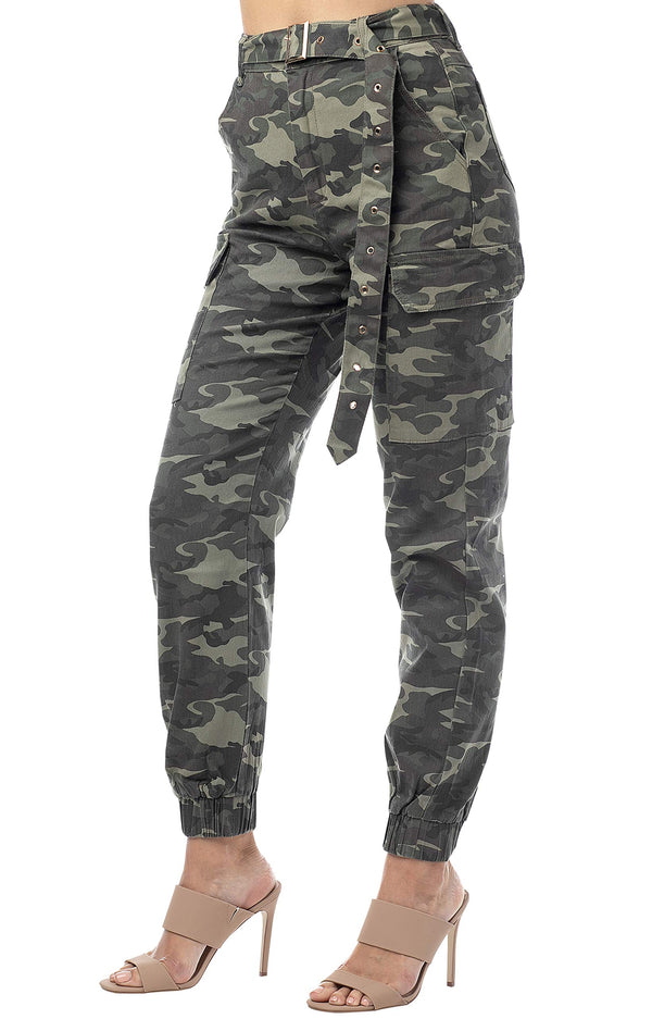 Side View Of Women's Juniors High Waisted Cargo Jogger with Mega Belt - Almost Famous Clothing