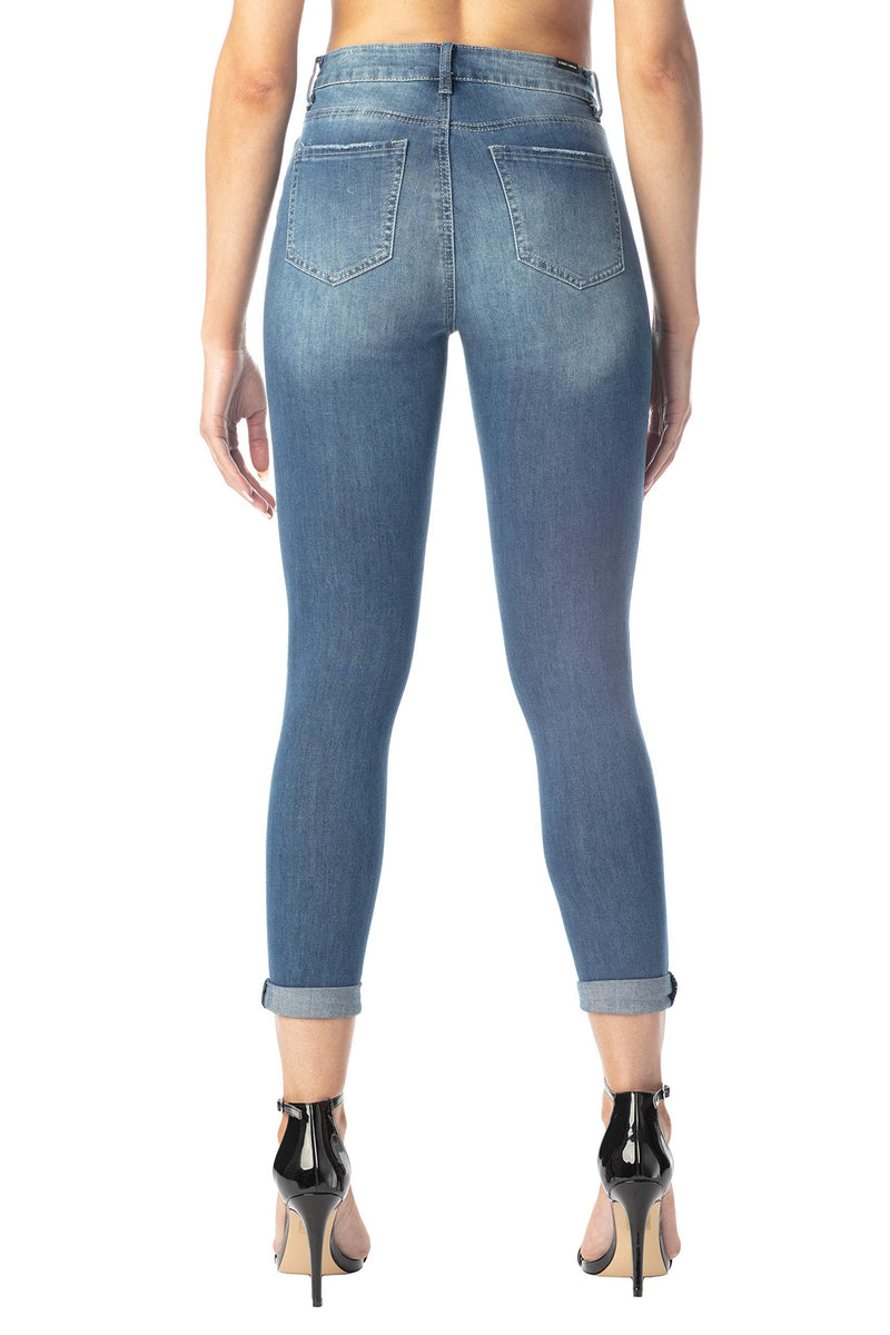 Back Side Of Women's Juniors Mom Jean Double Rolled Slim Leg - Almost Famous Clothing