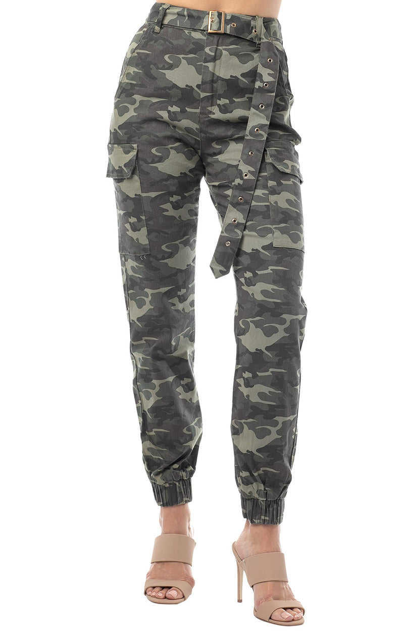 Women's Juniors High Waisted Cargo Jogger with Mega Belt - Almost Famous Clothing