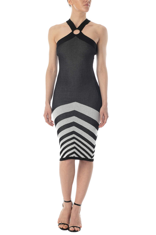 Women's Juniors Cross Strap Chevron Sweater Dress